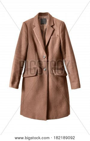 Elegant brown wool coat isolated over white