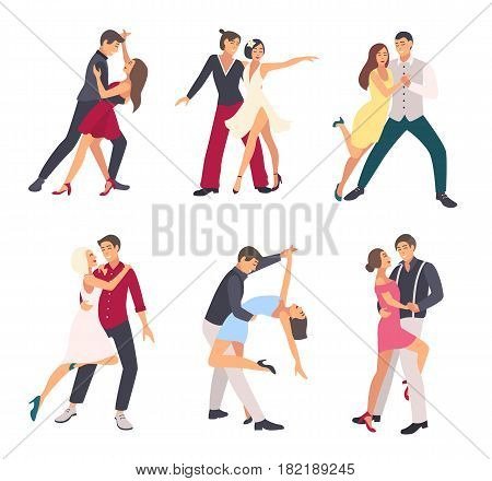 People dancing salsa. Couples, man and woman in dance, in different postures. Colorful flat illustration set