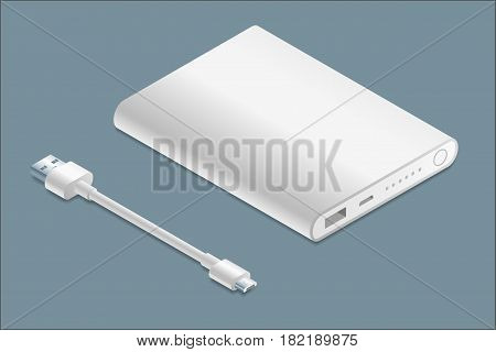 Isometric white powerbank with micro-USB cable illustration.
