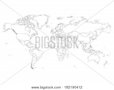 World map with country borders, thin black outline on white background. Simple high detail line vector wireframe.