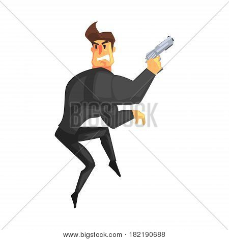 Secret Service Male Agent Undercover Tiptoeing. Handsome Muscly Professional Man Asset In Fancy Suit And On Duty. Cartoon Hero Special Force Crime Fighter Character Colorful Vector Illustration.