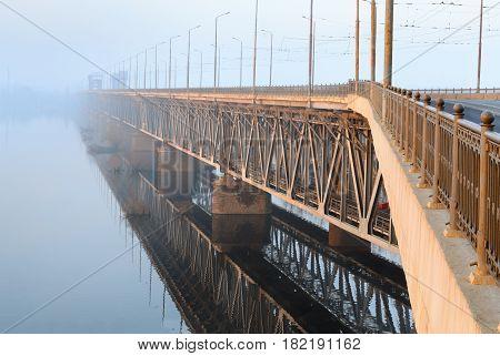 Railway Bridge In The Rays Of The Rising Sun