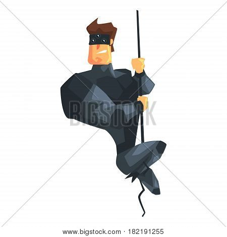 Secret Service Male Agent Undercover Descending Rope. Handsome Muscly Professional Man Asset In Fancy Suit And On Duty. Cartoon Hero Special Force Crime Fighter Character Colorful Vector Illustration.