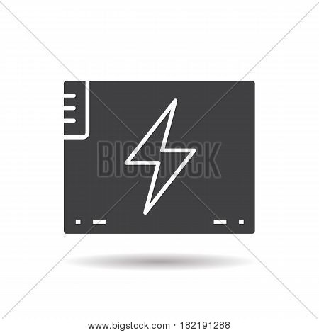 Accumulator battery glyph icon. Drop shadow silhouette symbol. Action camera battery. Negative space. Vector isolated illustration