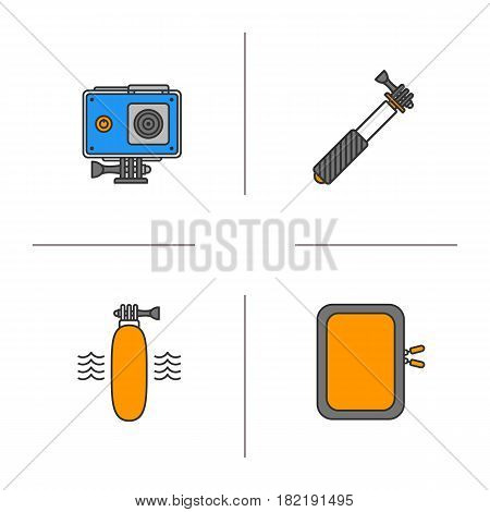Action camera color icons set. Floating grip, gadget protective case, monopod. Isolated vector illustrations
