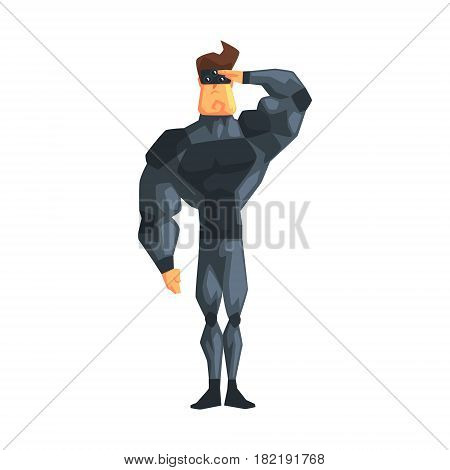 Secret Service Male Agent Saluting. Handsome Muscly Professional Man Asset In Fancy Suit And On Duty. Cartoon Hero Special Force Crime Fighter Character Colorful Vector Illustration.