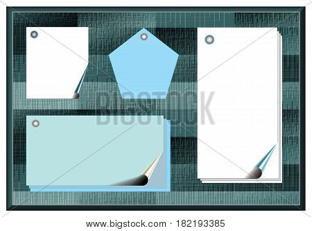 Bulletin board with empty white and blue papers