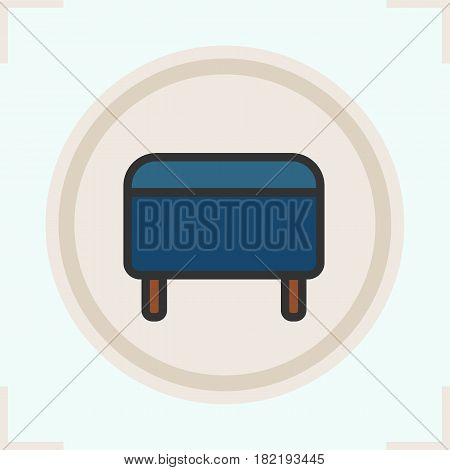 Ottoman color icon. Footstool. Pouf. Isolated vector illustration