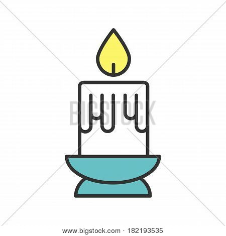 Melting candle color icon. Isolated vector illustration