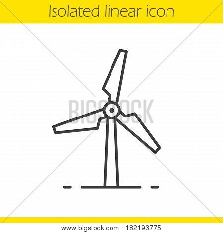 Windmill linear icon. Thin line illustration. Wind eco energy contour symbol. Vector isolated outline drawing