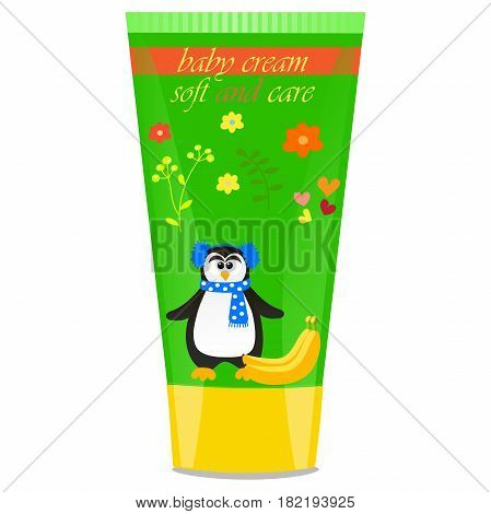 High quality original trendy vector Baby cream tube with kids design and pinguin, banana illustration