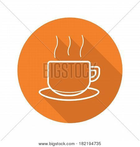 Steaming cup flat linear long shadow icon. Hot drink mug. Vector line symbol