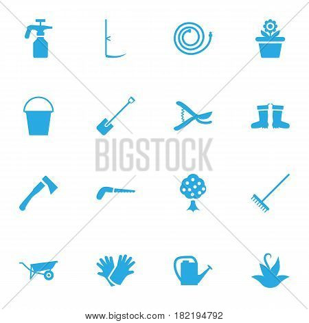 Set Of 16 Farm Icons Set.Collection Of Wheelbarrow, Pruner, Garden And Other Elements.