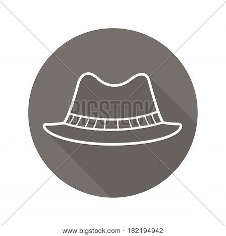 Homburg hat flat linear long shadow icon. Classic men's hat. Vector line symbol