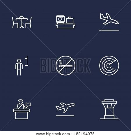 Set Of 9 Aircraft Outline Icons Set.Collection Of No Smoking, Control Tower, Detection And Other Elements.
