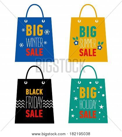 Set of advertising shopping bags. Big winter, summer, holiday sale, black friday sale. Flat icons