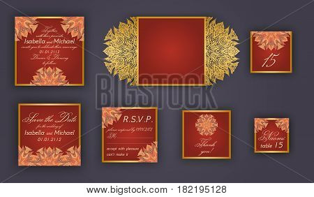 Vintage wedding invitation design set include Invitation card Save the date RSVP card Thank you card Table number Place cards Paper lace envelope. Wedding invitation mock-up for laser cutting.