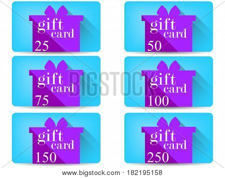 Gift Card With A Gift Box In A Flat Style With A Long Shadow. Vector Illustration