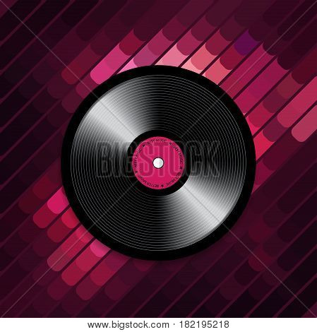 Abstract musical background with vinyl record disk. Vector illustration for music flyer, poster, brochure. Template in disco style. Rock sound concept.