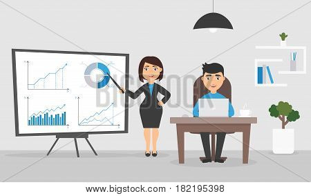 Office room. Businesswoman and businessman the on working. Manager sits at the desk and works on the computer. Graphs and charts on the stand.Cute character. Flat design vector illustration.