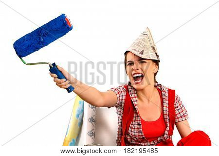 Repair home woman holding paint roller for wallpaper. Aggressive screaming girl in newspaper cap renovation apartment on isolated.