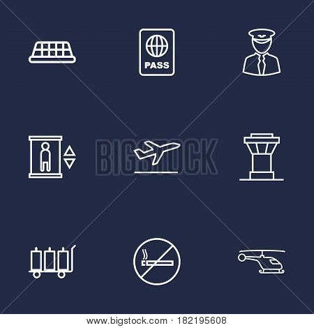 Set Of 9 Airplane Outline Icons Set.Collection Of Control Tower, Taxi, Flight And Other Elements.