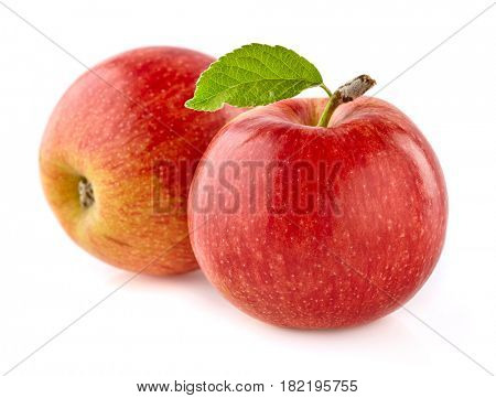 Apples with leaf on a white background