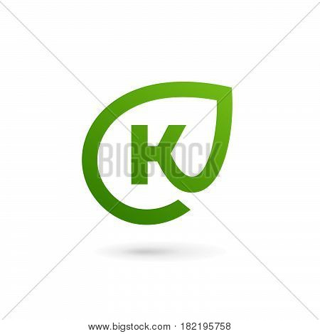 Letter K eco leaves logo icon design template elements