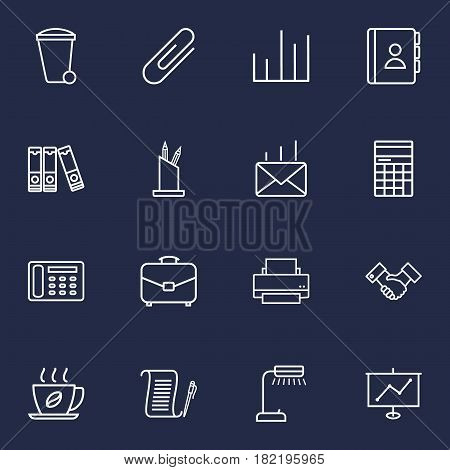 Set Of 16 Bureau Outline Icons Set.Collection Of Pen Storage, Post, Contacts And Other Elements.