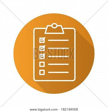 Clipboard checklist flat linear long shadow icon. To do list. Vector line symbol