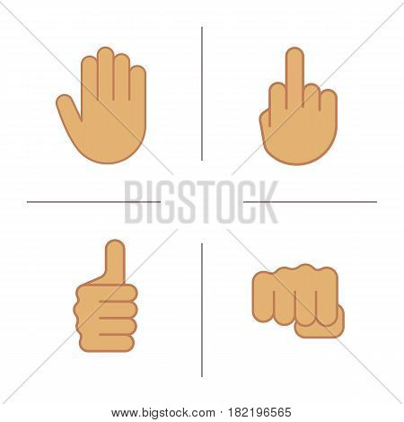 Hand gestures color icons set. Middle finger up, palm, punch, thumbs up. Isolated vector illustrations