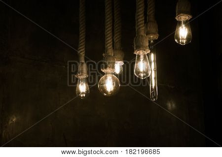 Lighting from a light bulb in a cafe