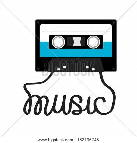 Plastic audio tape cassette with tape word Music. Retro icon. Recording element. 80s 90s years. Blue color template. Flat design. White background. Isolated. Vector illustration