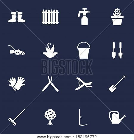Set Of 16 Horticulture Icons Set.Collection Of Cutter, Shovel, Rubber Boots And Other Elements.