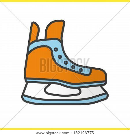 Ice skate color icon. Hockey skate. Isolated vector illustration