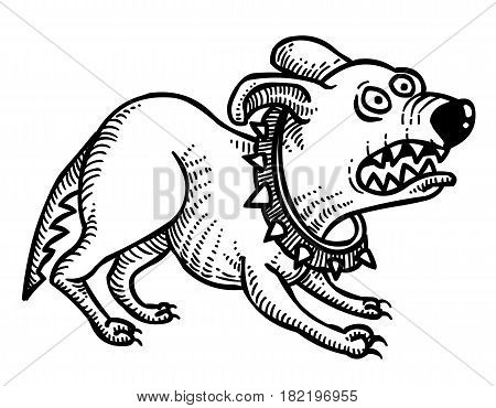Cartoon image of annoyed dog. An artistic freehand picture.