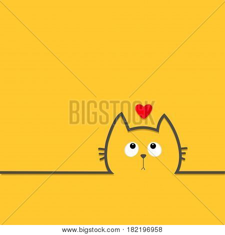 Black cat head face with eyes looking up to red heart. Contour silhouette line icon. Cute cartoon character. Kitty kitten with whisker Baby pet Yellow background. Flat design Vector illustration
