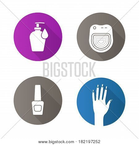 Spa salon flat design long shadow icons set. Woman's hand with manicure, nail polish bottle, lotion with drop, spa salon manicure bath. Vector silhouette illustration