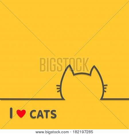 I love cats heart. Black cat head face contour silhouette line icon. Cute cartoon character. Text lettering. Kitten whisker Baby pet Yellow background. Isolated Flat design Vector illustration