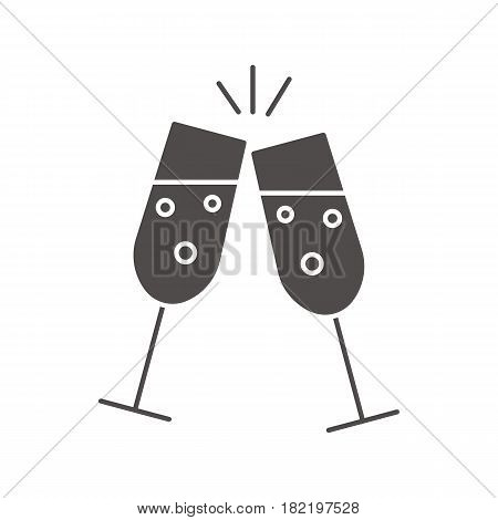 Toasting champagne glasses glyph icon. Cheers silhouette symbol. Negative space. Vector isolated illustration