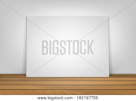 Vector Empty Blank White Mock Up Poster Picture Frame Standing on Brown Sienna Wooden Floor with Wall Front View