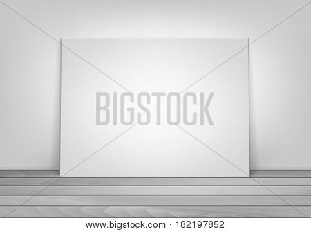 Vector Empty Blank White Mock Up Poster Picture Frame Standing on Wooden Floor with Wall Front View