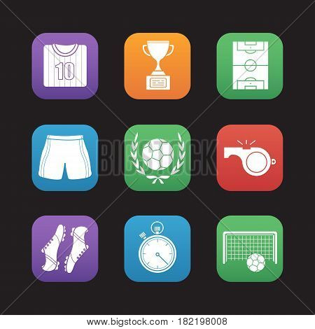Soccer flat design icons set. Football player's shirt, shoes and shorts, field, whistle, stopwatch, gate, ball in laurel wreath, winner's gold cup. Web application interface. Vector illustrations