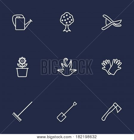 Set Of 9 Horticulture Outline Icons Set.Collection Of Herb, Secateurs, Hatchet And Other Elements.