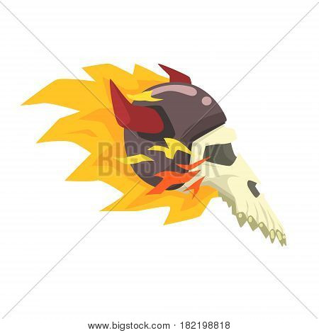 Scull In Horned Helmet On Fire, Colorful Sticker With War And Biker Culture Attributes Vector Icon. Creepy Dead Chost Rider Head Print Cool Cartoon Illustration.