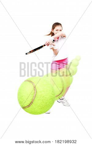 Beautiful girl tennis player in the process of game, isolated on white background