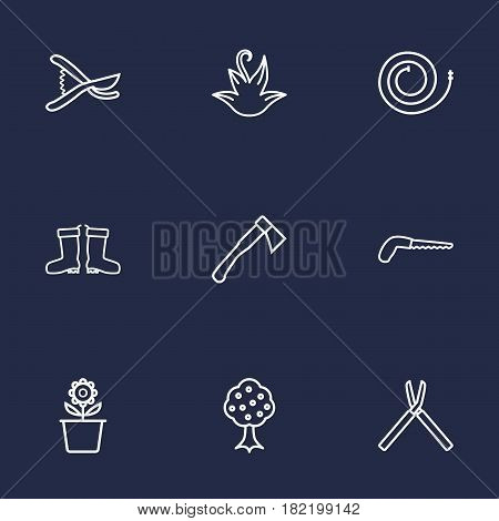 Set Of 9 Horticulture Outline Icons Set.Collection Of Plant Pot, Secateurs, Firehose And Other Elements.