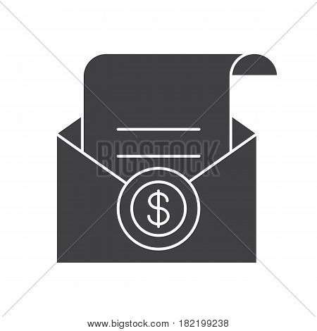 Salary glyph icon. Silhouette symbol. Check in open envelope. Negative space. Vector isolated illustration