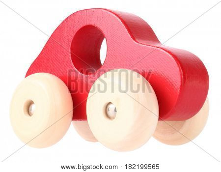 Red wooden toy car