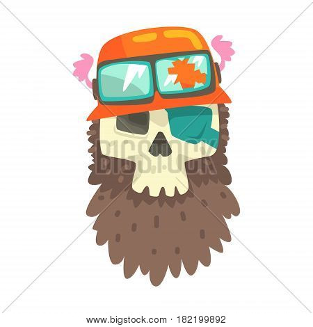 Beardy Scull In Orange Helmet With Shades, Colorful Sticker With War And Biker Culture Attributes Vector Icon. Creepy Dead Chost Rider Head Print Cool Cartoon Illustration.